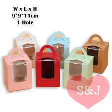 10x White Pink Blue 9x9x11cm Cupcake Gable Box Holder Insert Window Party Favour