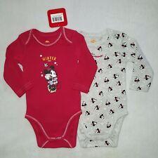 DISNEY BABY lot de 2 bodies body MINNIE Fêtes 3 ou 6 mois rouge gris NEUF