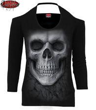 SPIRAL DIRECT SOLEMN SKULL Scoop Halter Neck Long Sleeve Top/Skull/Rock/Tattoo