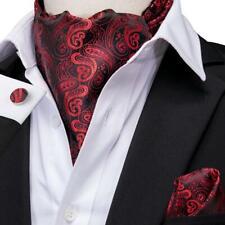 USA Red Black Paisley Mens Silk Ascot Cravat Tie Set Wedding Jacquard Woven