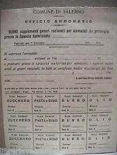 Tessera Carta Annonaria Salerno Seconda Guerra Mondiale 1943 Razionamento Comune