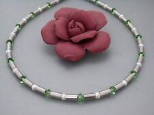Titanium Titan Halskette Collier Swarovski Süßwasser Perlen Peridot Silber Damen