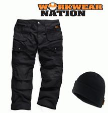 Scruffs Trabajo Combate Negro Comercio Pantalones Cargo Gorro GRATIS
