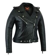 Womens Genuine Sheep Leather Classic Crop Biker Jacket Moto Fashion Jacket Black
