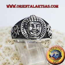 Anello testa di Buddha con Om in argento