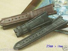 Genuine leather Band Strap bracelet (FITS) Patek Philip 25mm x 18mm Brown Black