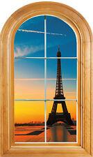Sticker fenêtre vouté trompe l'oeil déco Tour Eiffel réf 636