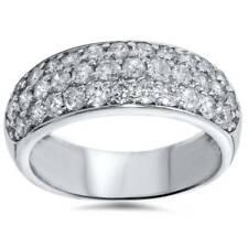 1 1/2ct Pave Diamond Wedding Anniversary 14K White Gold Womens Wide Band