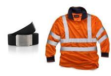 Standsafe Reflective Hi Vis  Work Polo Long Sleeve Tshirt Orange FREE BELT