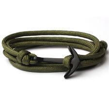 Multilayer Black Anchor Bracelets Polyester Rope Wrap Around Bangle Boys Viking