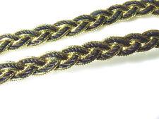 2 Metre or 2x2 Metres Black/Metallic Gold Braid 8 mm Sewing Trim/Gimp Upholstery