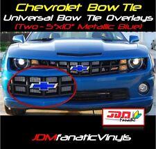 (2)5x10 Chevrolet Metallic Blue Bow Tie Emblem Overlays Decal Vehicle Wrap Chevy