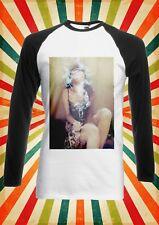 Chica Sexy de fumar droga Alto De Hombre Mujer Largo Mangas Cortas Camiseta De Béisbol 1167