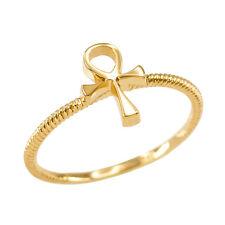 Fine Women's 10k Dainty Yellow Gold Egyptian Ankh Cross Ring