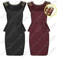 NEW WOMENS LADIES GOLD STUD SHOULDER PEPLUM FRILL DRESS SPIKE BODYCON SKIRT TOPS
