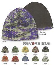 REVERSIBLE Digital Mesh Camo FLEECE LINED Beanie Stocking Hat Cap