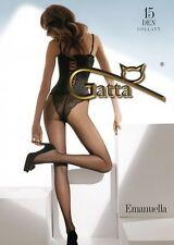 EMANUELLA Collant 15Den Noir Gatta T2 T3 ou T4