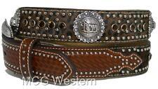 Nocona Western Mens Belt Leather Leopard Hair Cowboy Prayer Concho N2498408