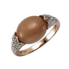 ZEEme Jewelry Ring 925 Sterling Silber rot vergoldet Mondstein mit Zirkonia