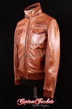 Men's Stealth lavé tan pilote de chasse court vol bomber veste en cuir véritable