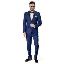 Slim Fit Men's Navy Blue Tuxedo 2 Button Black Notch Lapel Satin Collar AZAR MAN