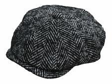Unisex 8 Panel 100% Wool Chunky  Bakerboy Newsboy Style Tweed Flat Cap