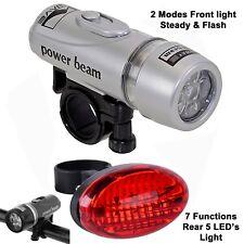 LED white bike headlight front Back 7 function head light lamp rear tail torch