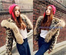 Fashion Women Leopard Warm Fur Hooded Short Jacket Punk Coat Loose Plus size