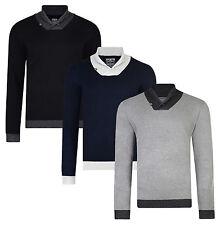 Kensington New Men's Shawl Neck Jumper Knitted Nylon Blend Pullover Sweater