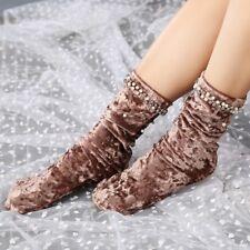 1 Pair Lady Velvet High Middle Tube Loose Socks Beads Chic Warm Soft Socks Cosy
