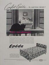 PUBLICITE EPEDA MATELAS SOMMIER CHAT LITERIE DE 1960 PUB FRENCH ADVERT CAT PUB