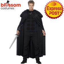 CA272 Mens Dark Barbarian Jon Snow Game of Thrones Cloak Cape Medieval Costume