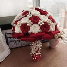 New Luxury Pearl Rose Flowers Bride Bouquet Garland Wedding Gift Bridal Supplies