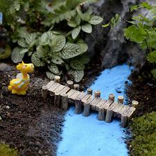 Mini Wooden Bridge Micro Landscape Resin Figurines Fairy Garden Accessories SN
