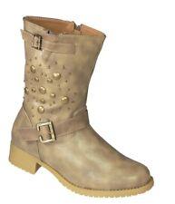 Damen Stiefel Stiefeletten Wanderschuhe Biker Boots Cowboy Stiefel E55 Beige Gr.