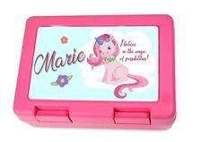 Brotdose Lunch-box Kinder mit Wunsch-Name süßes Einhorn für Mädchen in pink