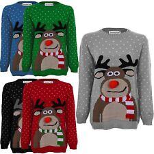 Ladies Christmas Rudolf Reindeer Pompom Snowflake knitted Sweater Jumpers 8-30