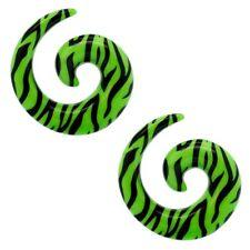 Set Dehnspirale Piercing Dehner Plug Ohr Tunnel  Zebra Grün Animalprint Muster