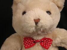 "COMMONWEALTH 2004 BEAR PLUSH TEDDY POLKADOT RED BOW PLUSH STUFFED ANIMAL 11"""