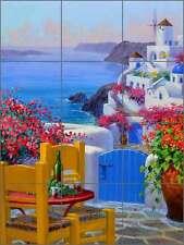 Ceramic Tile Mural Backsplash Senkarik Mediterranean Greek Seascape Art MSA182