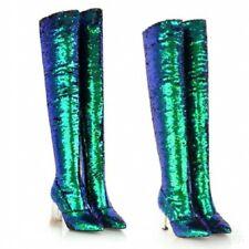 Sexey Nightclub Block/Stilettos Heel Pointy Toe Overknee High Boots Women Shoes