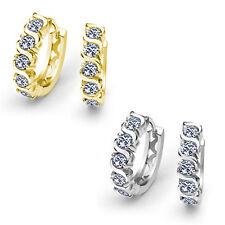 Women's Stylish 14K WG Setting Prong Set White Sapphire Wave Huggie Drop Earring