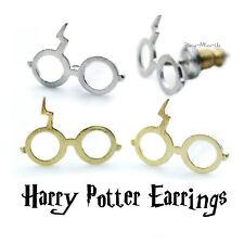 Harry Potter occhiali fulmine cicatrice Argento Placcato ~ 18k Orecchini a Perno Dainty d'oro