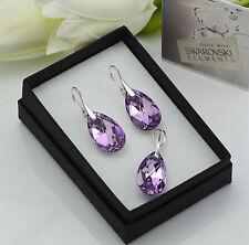 925 pendientes de plata/Set hecha con cristales de Swarovski 22mm Violet Cal De Pera