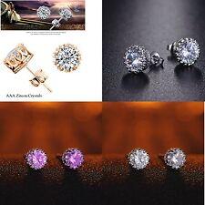 Women's Crystal Purple Cubic Zirconia Gold Silver Crown Stud Earrings Jewellery