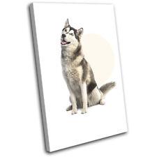 Husky Arctic Dog Modern Circle Animals SINGLE CANVAS WALL ART Picture Print