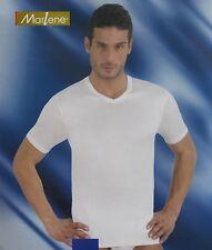 MARLENE. Maglietta intima T-shirt Uomo manica corta, Scollo V Cotone caldo 30293