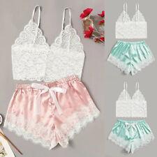 Women Lingerie Corset Lace Pajama Set Seamless Sleepwear Underwear Tops+Briefs L
