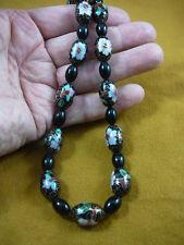 (v257-3) Black pink flower Cloisonne beaded onyx Beads Necklace fashion JEWELRY
