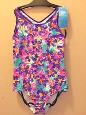 Girls Speedo Purple Multi Bright Floral One Piece Swimsuit Tank w Racer Back